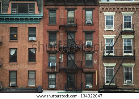 Old apartment buildings fire escapes new stock photo for Model houses in new york