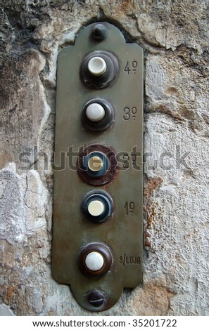 old apartment buzzers - stock photo