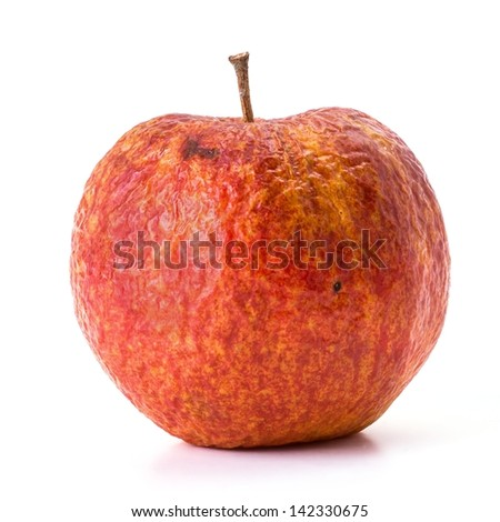 Old apple that is beginning to rot on white background - stock photo