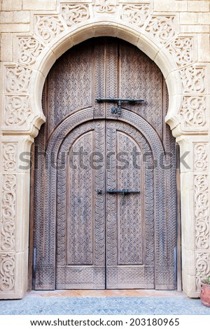 Old Arabian door in Morocco - stock photo