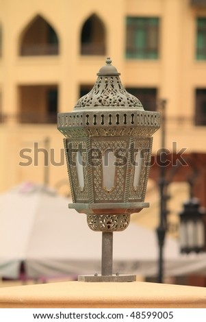 Old arabic style lamp in dubai, united arab emirates