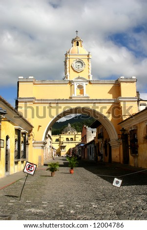 Old arch in historic colonial city of Guatemala - stock photo