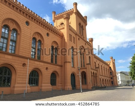 Old architecture buildings in the city of Schwerin Germany