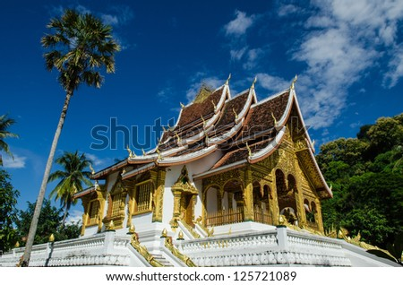 Old Architecture in Ancient Buddhist Temple in Luang Prabang, Laos, Southeast Asia, The world heritage Area. - stock photo