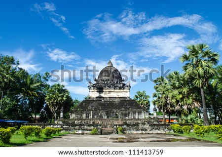 Old Architecture in Ancient  Buddhist Temple , Luang Prabang, Laos, Southeast Asia, The world heritage Area. - stock photo