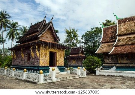 Old Architecture in Ancient  Buddhist Temple , Wat Xieng Thong in Luang Prabang, Laos, Southeast Asia, The world heritage Area. - stock photo