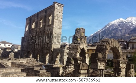 old architecture in Aosta Italy