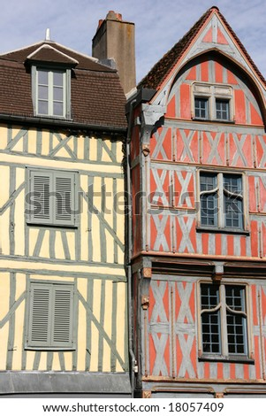Old architecture in Auxerre (Yonne, Burgundy), France. Timber framing of colorful houses.