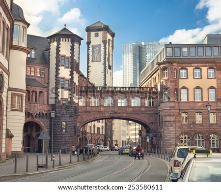 old architecture in Frankfurt city, Germany  - stock photo