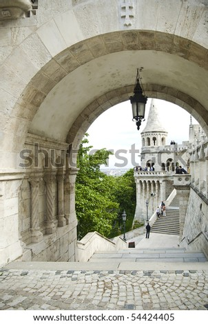 Old architecture of Budapest, Hungary - stock photo