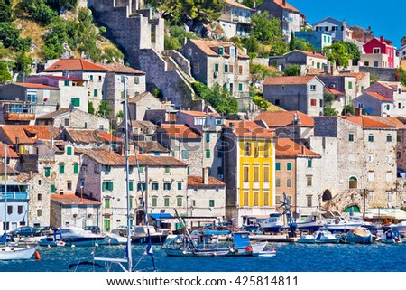 Old architecture of UNESCO town of Sibenik, Dalmatia, Croatia - stock photo