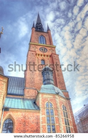 Old architecture. The church Riddarholmen in Stockholm - stock photo