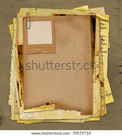 Old archive with letters, photos on the abstract grunge background - stock photo