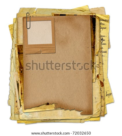 Old archive with letters, photos on the white isolated background - stock photo