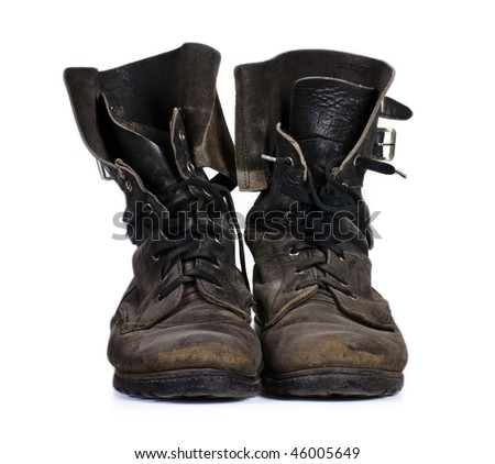 Old army boots - stock photo