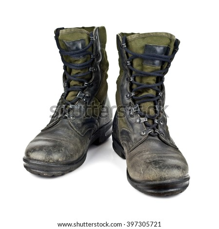 old army boots isolated on white background stock photo - stock photo