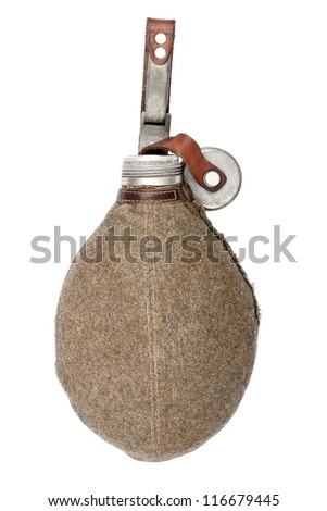 Old army canteen isolated on white background