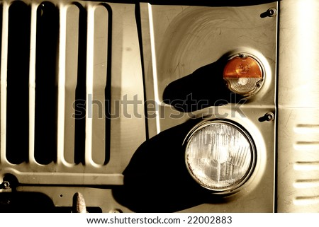 old army truck detail - stock photo