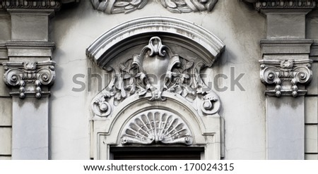 old art architectural details of buildings facade in Belgrade, Serbia - stock photo