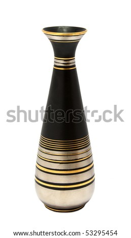 Old art deco vase isolated on white background