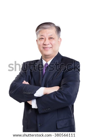 old Asian businessman in black suit