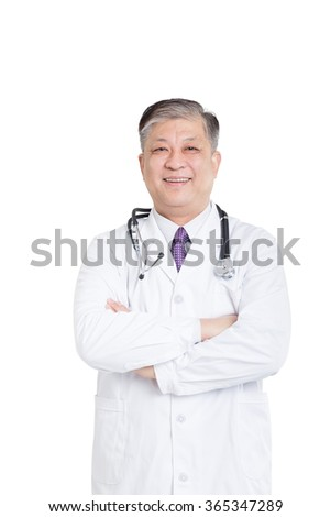 old asian man doctor in white stands smiling