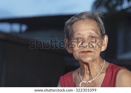 Old Asian woman, Elderly people in thailand - stock photo