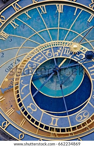 Old astronomical clock detail in Prague