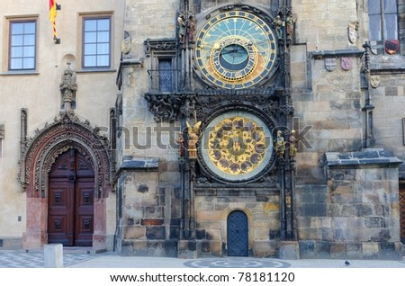Old astronomical clock in Old Town Square, Prague, Czech Republic - stock photo