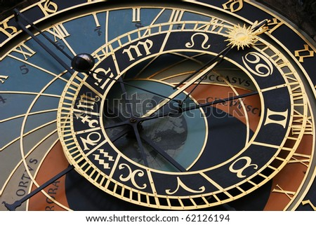 Old astronomical clock in Prague (Czech Republic) - stock photo
