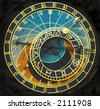 Old astronomical clock in the center square of Prague, Czech Republic - stock photo