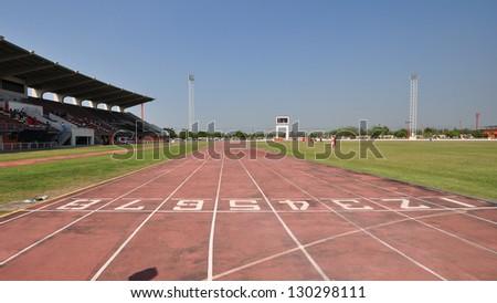 Old Athletics Track Lane Numbers - stock photo