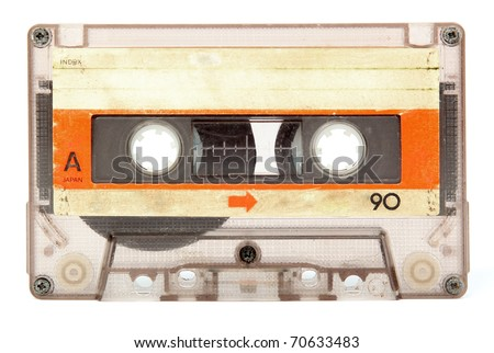 Old audio cassette isolated on white - stock photo