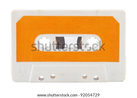 Old audio cassette isolated on white background - stock photo
