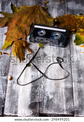 Old audio cassette lying among fallen leaves on the rough table