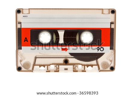 Old audio cassette on a white background - stock photo