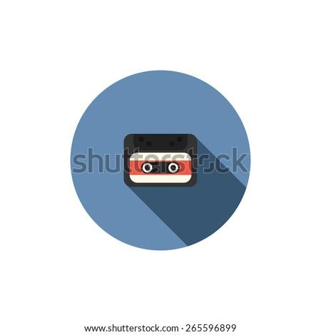 old audio cassette tape icon - stock photo