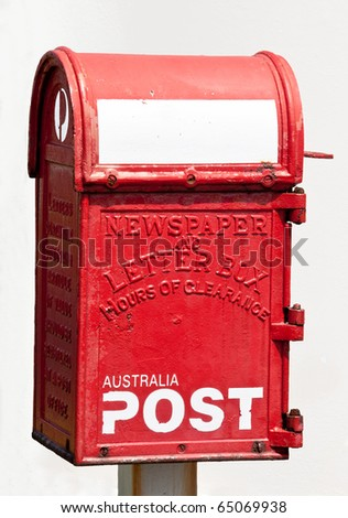 Old Australian postbox isolated on a white background