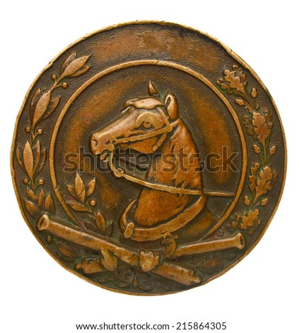Old Austro-Hungarian military badges proficiency specialist. Horse artillery - stock photo