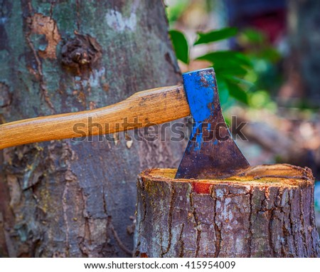 Old axe in stump in the clearing in wood - stock photo
