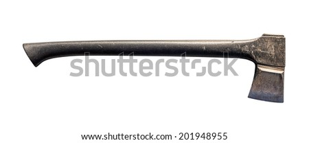 Old axe isolated on white background - stock photo