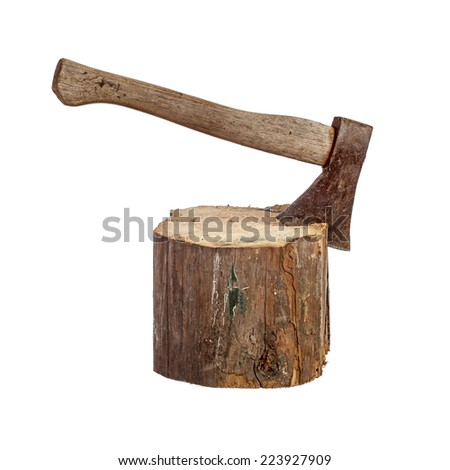 Old axe stuck in log isolated over white - stock photo