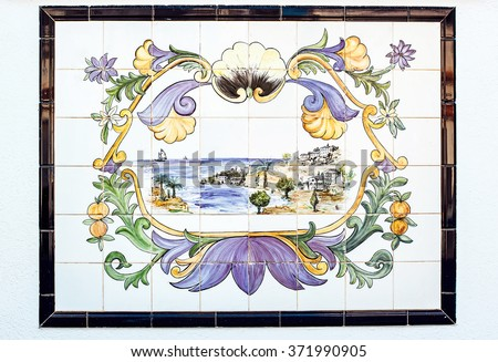 Old azulejos picture. Ancient ceramic tile - stock photo