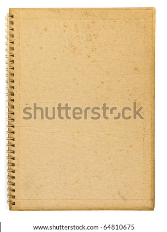 Old back cover of spiral recycle notebook - stock photo