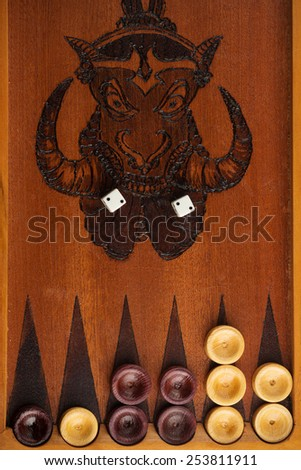 Old backgammon game  - stock photo