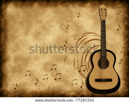 Old background music with a guitar - stock photo