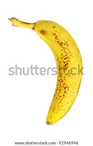Old bad banana isolated on white - stock photo