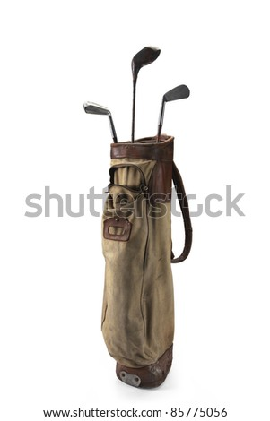 Old bag of golf clubs isolated on white background - stock photo