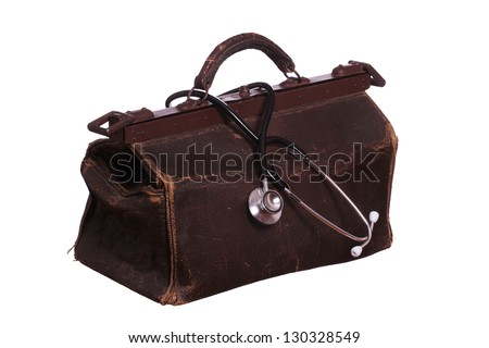 old bag with stethoscope - stock photo