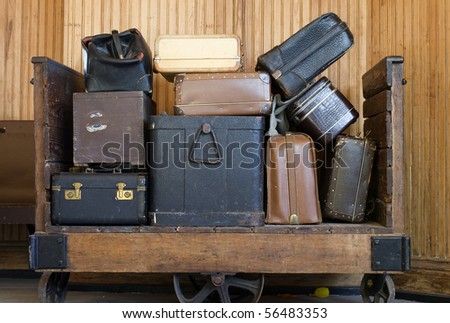 old baggage in the train station - stock photo
